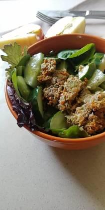 salad and meatloaf